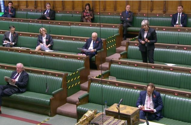 Theresa May speaking out about lockdown measures in the Commons after Boris Johnson left the