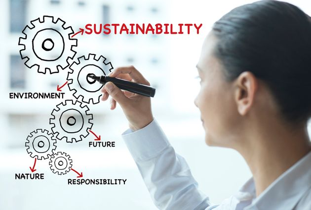 Businesswoman writing sustainability strategies on office