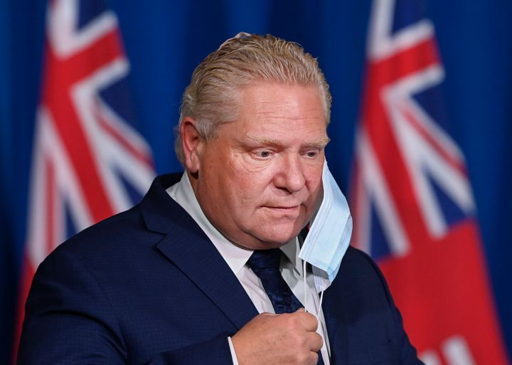 Ontario Premier Doug Ford arrives to a press conference at Queen's Park in Toronto on Nov. 3, 2020.