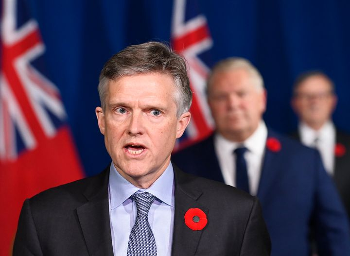 Ontario Finance Minister Rod Phillips speaks at a press conference at Queen's Park during the COVID-19 pandemic in Toronto on Nov. 3, 2020.