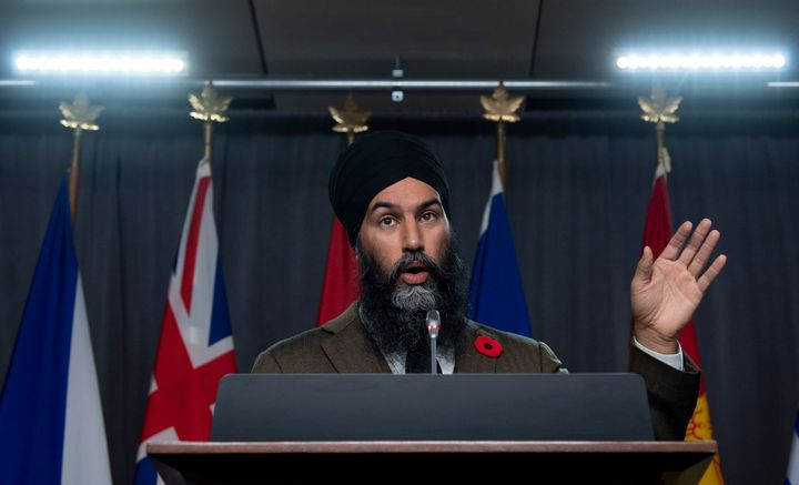 NDP Leader Jagmeet Singh speaks during a news conference on Parliament Hill in Ottawa on Nov. 4, 2020.