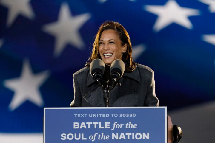 Kamala Harris addresses supporters at a drive-in rally in Philadelphia on Nov. 2, 2020.