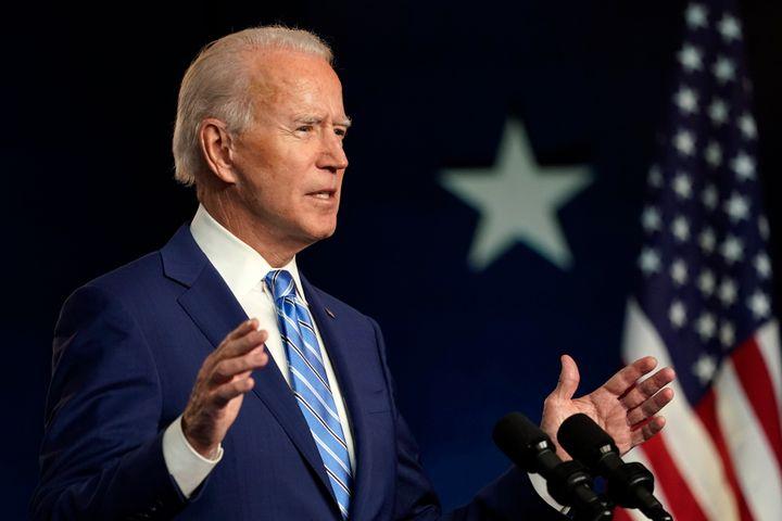 Democratic presidential candidate Joe Biden speaks Wednesday in Wilmington, Delaware.