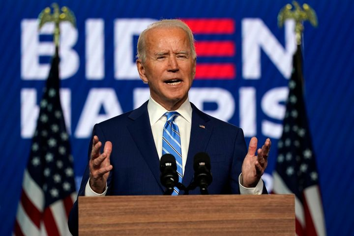 Joe Biden has urged his supporters to keep the faithand to wait until the election was called - pictured here on November 4 in Wilmington, Delaware