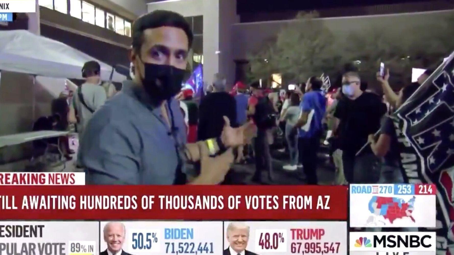 Trump Supporters Chant 'Fox News Sucks' On MSNBC In Surreal Scene In Arizona