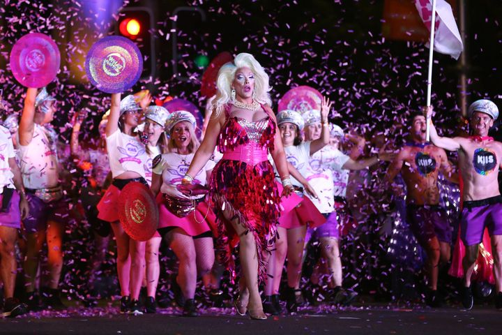 Parade goers take part during the 2020 Sydney Gay & Lesbian Mardi Gras Parade on February 29, 2020 in Sydney, Australia.