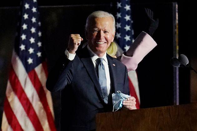 민주당 조 바이든 후보가 기자회견을 하고 있다. 윌밍턴, 델라웨어주. 2020년