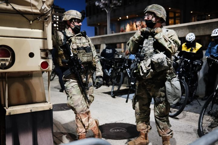 National Guard soldiers patrol the streets the morning after Americans voted in the presidential election on Nov. 4, 2020, in