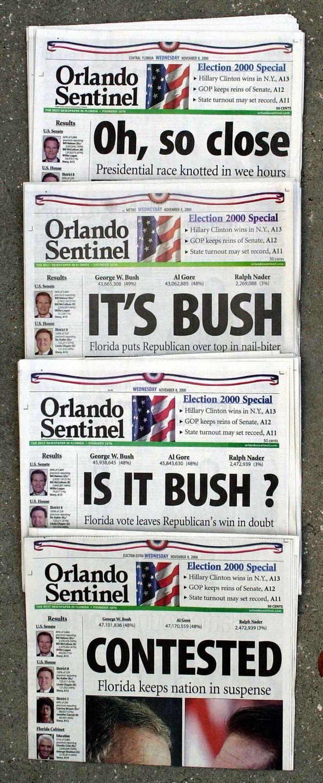 Las portadas preparadas por el 'Orlando Sentinel' durante la loca noche electoral de 2000, que van del...