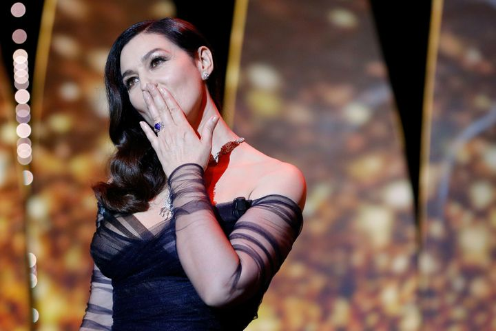 """70th Cannes Film Festival - Opening ceremony and screening of the film """"Les fantomes d'Ismael"""" (Ismael's Ghosts) out of competition - Cannes, France. 17/05/2017. Mistress of Ceremony actress Monica Bellucci on stage. REUTERS/Stephane Mahe"""