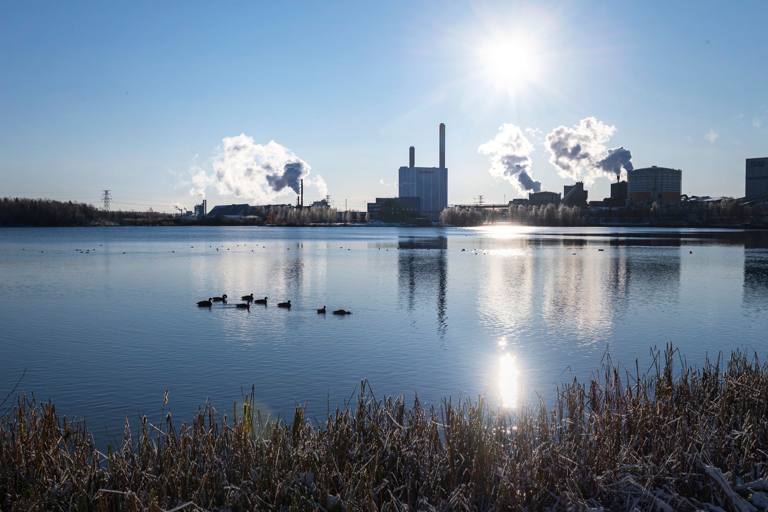 A view of SSAB's industrial zone. Luleå is located in an archipelago and surrounded by forests.