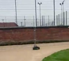 Barriers are being put up around Fallowfield Halls at the University of