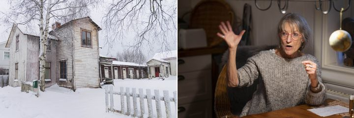 Left: A house in Svartöstaden, a residential area that borders SSAB's industrial zone. Right: Kerstin Rönnbom, a doctor based in Svartöstaden whose 1989 study linked sulfur dioxide and soot from the steelworks with respiratory issues in her patients.