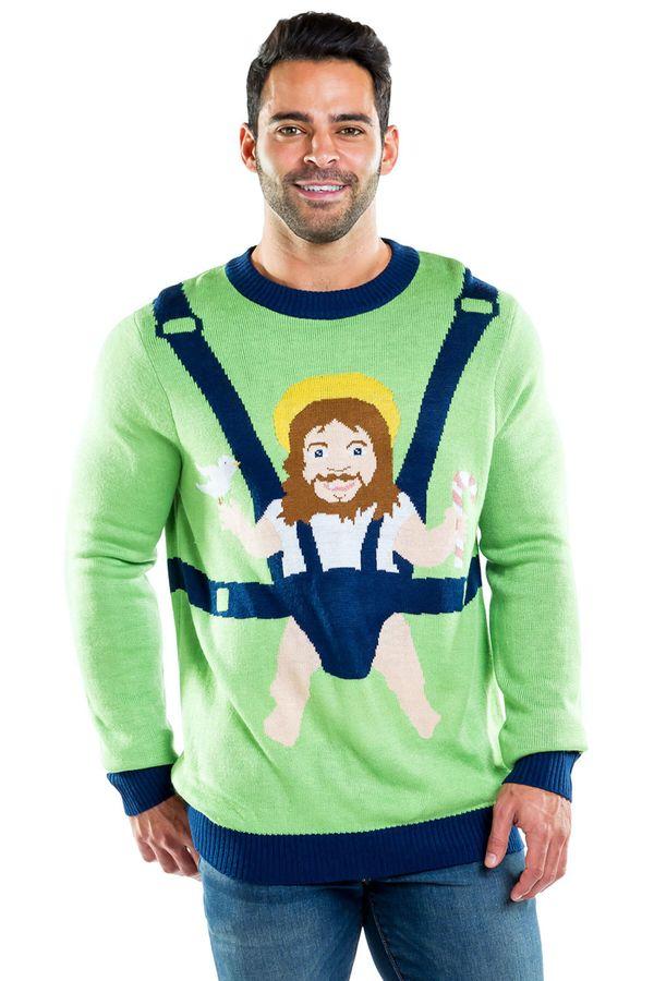 "<a href=""https://www.tipsyelves.com/mens-baby-jesus-sweater"" target=""_blank"">Sweet baby Jesus</a> indeed!"