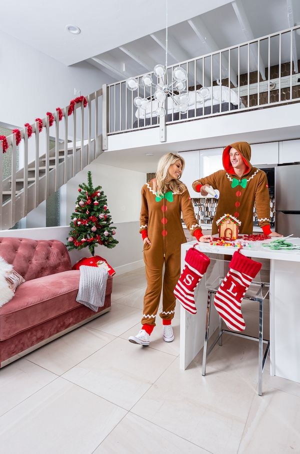 Looking for a sweet outfit to wear during your holiday Zoom call with the family? How about matching gingerbread jumpsuits fo