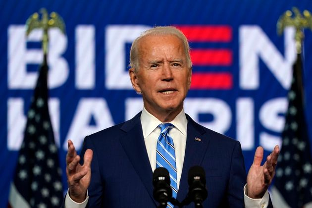 Joe Biden s'exprimant le mercredi 4 novembre depuis Wilmington dans le Delaware (AP Photo/Carolyn