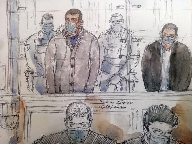 Dessin d'audience réalisé le 5 octobre, montrant , à gauche, lors de son procès...