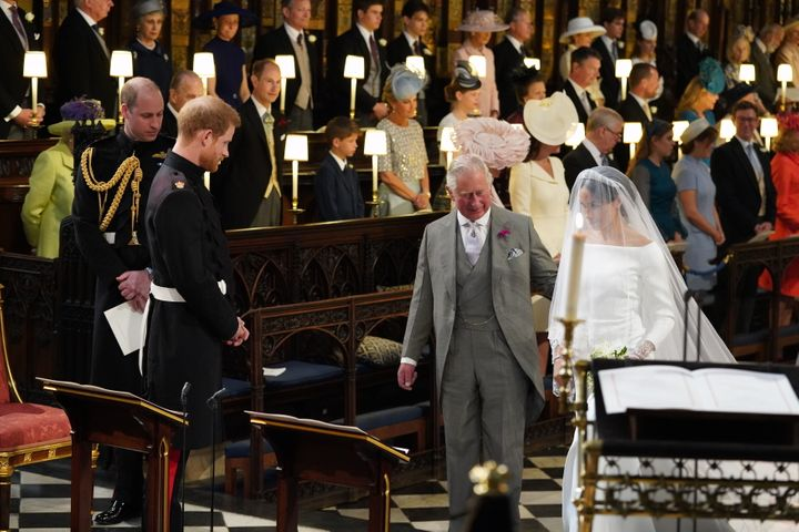 Meghan Markle, as she arrives accompanied by Prince Charles during her wedding ceremony in 2018.