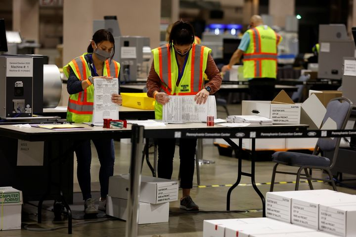 Mail ballots are counted on Election Day in Philadelphia on Nov. 3.