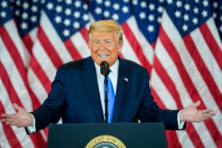 President Donald Trump speaks at an election event in the East Room at the White House on Wednesday, Nov. 4, in Washington, D