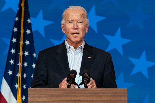 민주당 조 바이든 후보가 기자회견을 하고 있다. 그는 개표가 끝나면 자신이 승자로 결정될 것이라고 자신한다고 말했다. 2020년