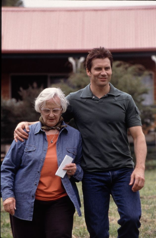 Joy Westmore on the set of Neighbours in