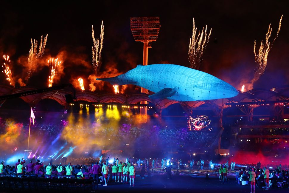 'Migaloo' rises above Carrara Stadium during the Opening Ceremony for the Gold Coast 2018 Commonwealth...