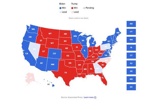 El mapa de los estados a las