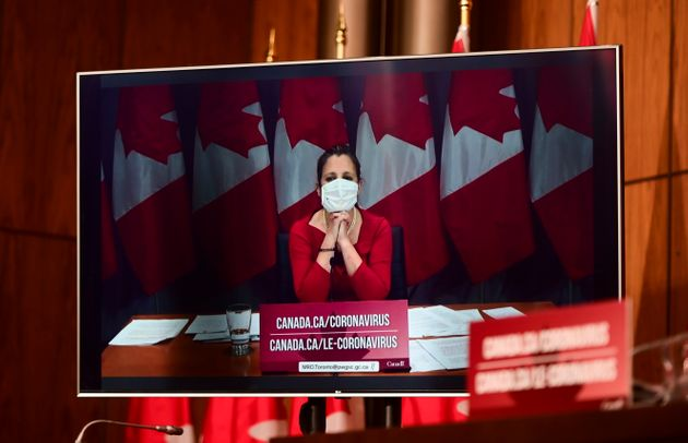 Federal Finance Minister Chrystia Freeland takes part in a COVID-19 pandemic update during a video conference...