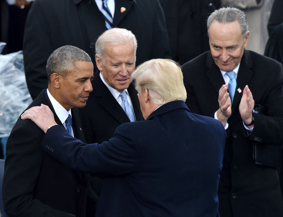 Joe Biden and Barack Obama at Donald Trump's inauguration in January