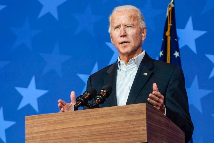 Joe Biden addresses supporters.