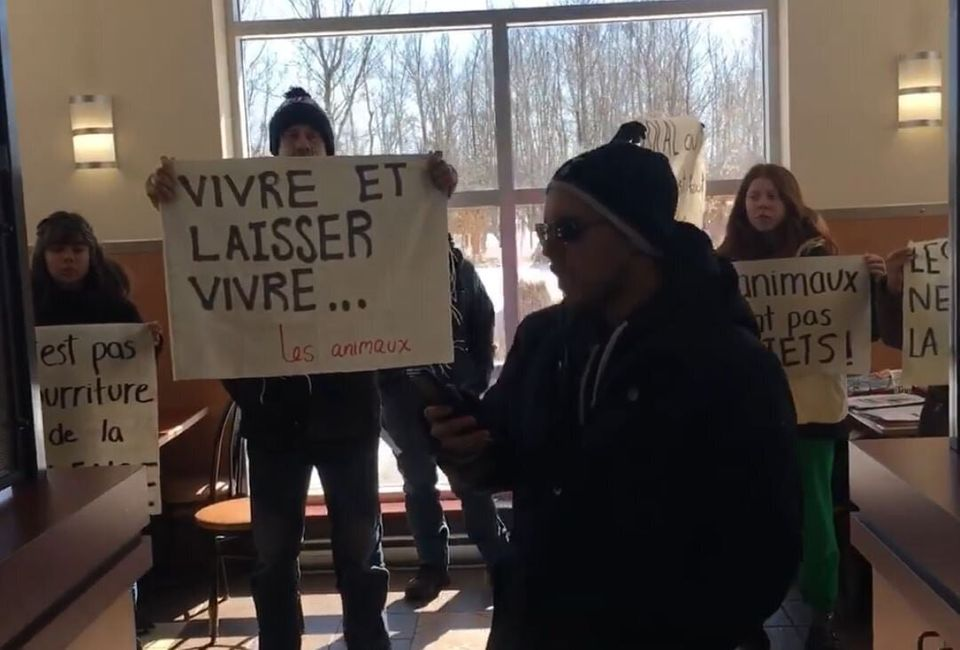 Pascal Bédard and members of DXE Montreal at the Ashton restaurant in Ancienne-Lorette to denounce animal...