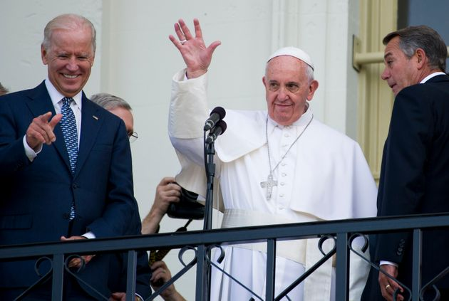 UNITED STATES - SEPTEMBER 24: Pope Francis, flanked from left by Vice President Joe Biden, and Speaker...