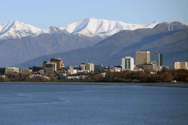Une vue d'Anchorage, en Alaska aux États-Unis, en novembre