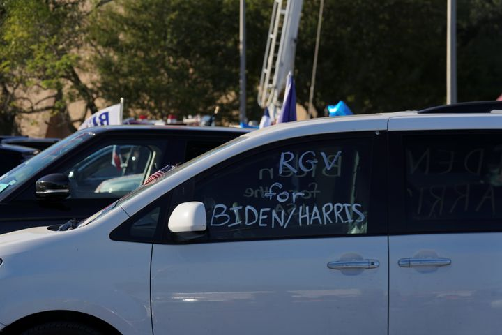 """A vehicle with the message """"RGV (Rio Grande Valley) for Biden/Harris"""" during a campaign event with vice presidential nominee"""