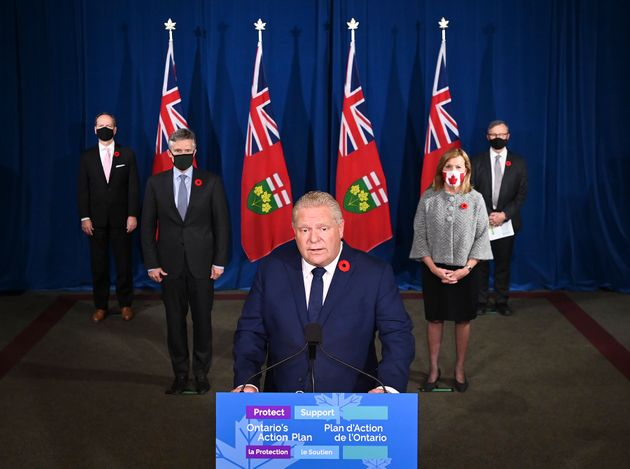 Ontario Premier Doug Ford holds a press conference at Queen's Park during the COVID-19 pandemic in Toronto...