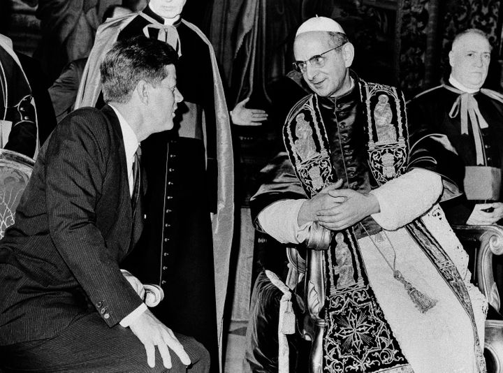 In this July 2, 1963, file photo, President John F. Kennedy and Pope Paul VI talk at the Vatican.