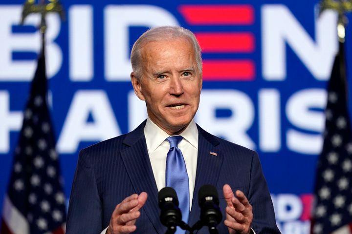 <strong>Democratic presidential candidate Joe Biden speaks in Wilmington, Delaware.</strong>