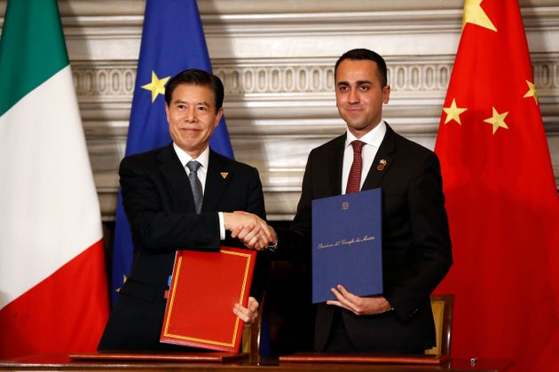 He Lifeng, signs the agreement with Luigi Di Maio during the Italy-China meeting at Villa Madama. Rome...