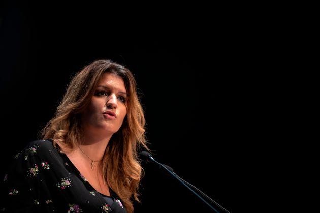 Marlène Schiappa lors d'un discours sur le séparatisme islamiste le 27 octobre à...