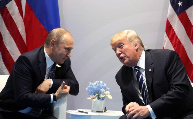 Vladimir Putin and President Donald Trump meeting at the 2017 G20
