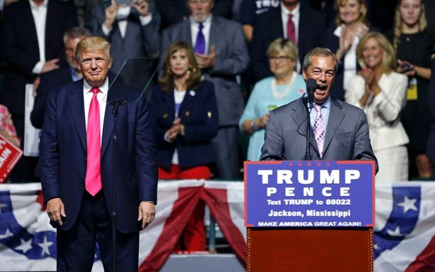 Nigel Farage, ex-leader of the British UKIP party, speaks as Republican presidential candidate Donald...