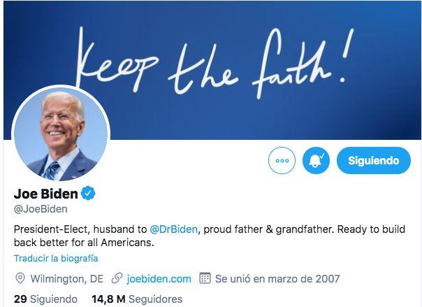 Biden y Harris cambian sus 'bios' de