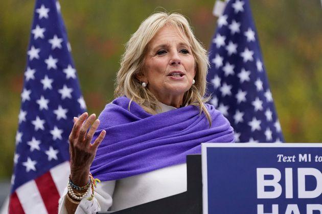 Jill Biden, el pasado 29 de octubre, de campaña en Westland,