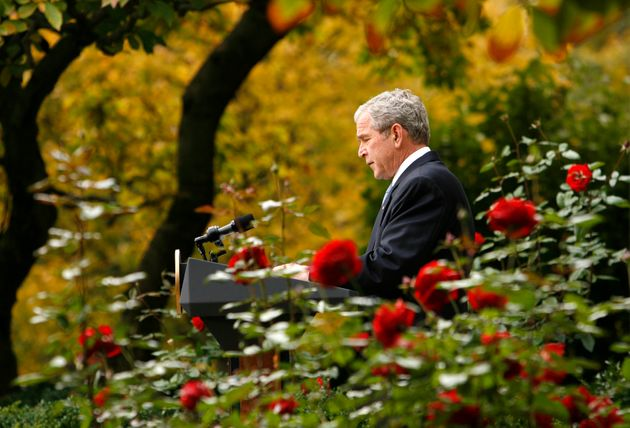 U.S. President George W. Bush speaks about the election victory of Barack Obama from the Rose Garden...