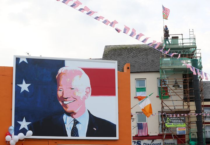 Residents of Ballina, Ireland, celebrate in the ancestral home of President-elect Joe Biden.