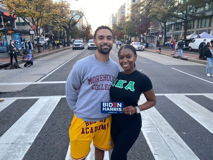 Theo Guidry and his wife, Gina, came to Black Lives Matter Plaza wearing a Morehouse College sweater and Alpha Kappa Alpha sh