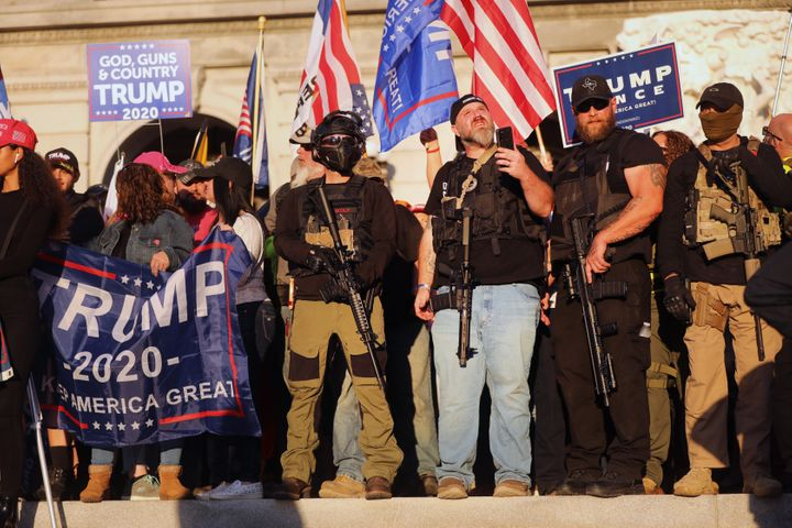 Hundreds of people — some armed — gathered in Harrisburg, Pennsylvania, on Saturday to show their anger that Joe