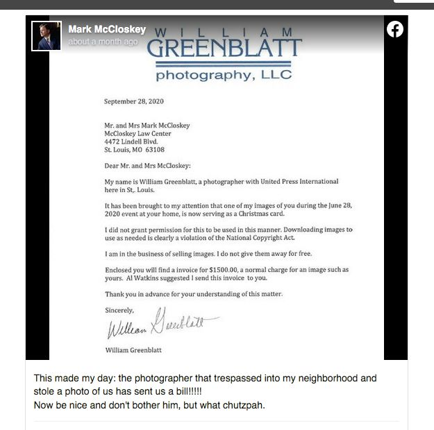 Mark McCloskey — with snarky comment — posted UPI photographer Bill Greenblatt's invoice for use of his photo on