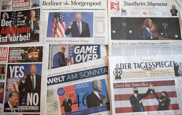BERLIN, GERMANY - NOVEMBER 08: In this photo illustration German newspaper front pages show Sunday newspapers...